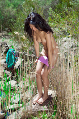Beautiful asian teen posing naked on..